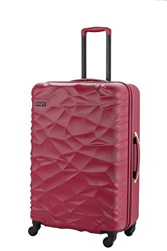 Pianeta 'Islanda' robusto policarbonato ABS miscela rigida valigia 4 ruote in 3 colori (M rosso)