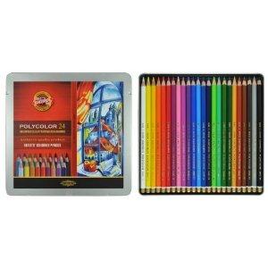 Polycolor 24er Farbstifte Zeichenstifte für Künstler von KOH-I-NOOR Set in Metallbox farbig...