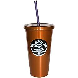 Starbucks acero inoxidable frío taza vaso con tapa y pajita, color naranja, Navidad regalo presente, 473ml/16fl oz
