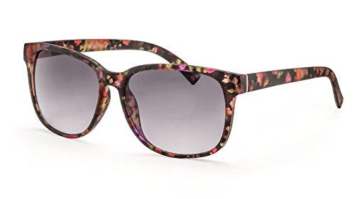 Filtral Damen-Sonnenbrille mit Blumenmuster/Moderne, eckige Sonnenbrille mit grauen Verlaufsgläsern F3024908