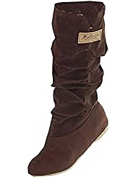 Minetom Mujer Otoño Invierno Elegante Casual Zapatos Planos Rodilla Botas Slouchy Botas De Nieve Dulce Botas Largas