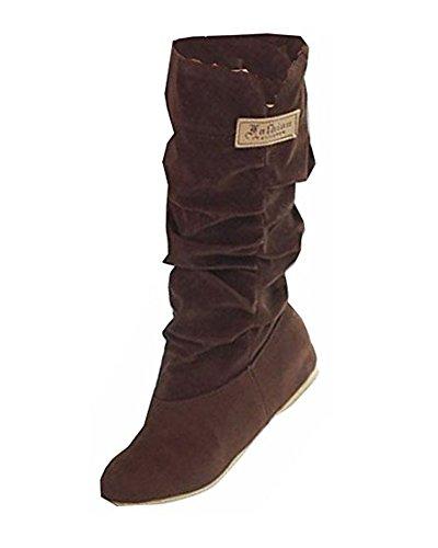 Minetom Donna Autunno Inverno Elegante Casuale Piatta Scarpe Stivali Slouchy Stivali Da Neve Lunghi Stivali Marrone EU 42