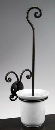 Paolo Rossi Badezimmer WC-Bürstenhalter aus Schmiedeeisen mit Pinsel und weißer Keramik Tasse, kompletter Satz von Bad