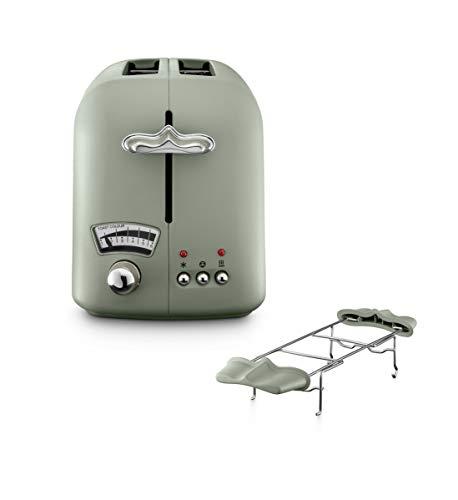 De\'Longhi CTO21.GR Argento Flora Toaster 2 Schlitz Toaster Brötchenaufsatz Bräunungsgrad ohne Wasserkocher Peppermint Green