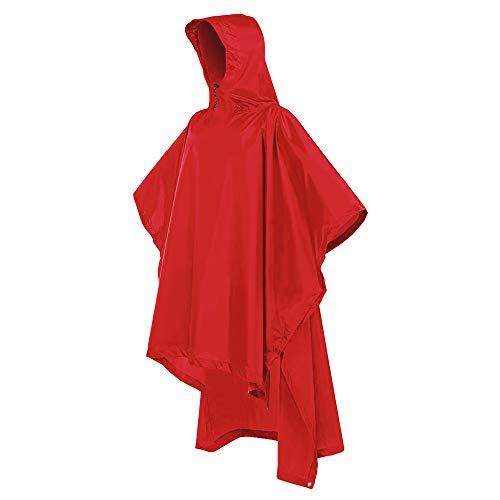 Bramble! poncho pioggia impermeabile - multiuso, 3-in-1 mantella pioggia con cappuccio - riutilizzabile e affidabile - perfetto per campeggio, pesca, montagna, trekking, tenda, terra foglio. (rosso)