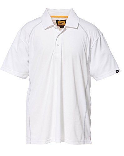 Caterpillar Mens Performance Polyester Pique Polo Shirt White (Pique E Performance Polo)
