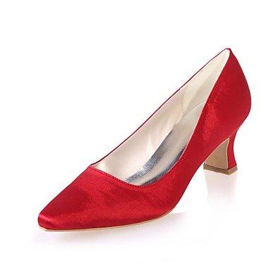 Wuyulunbi@ Scarpe donna raso Primavera Estate della pompa base di nozze blocco scarpe tacco punta quadrata per la festa di nozze & sera un Champagne blu rosso Rosso