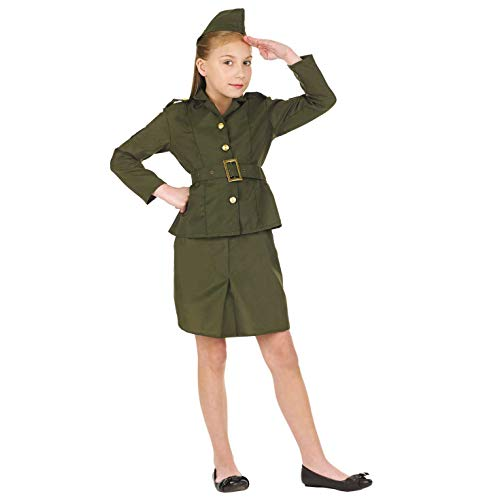 Fun Shack FNK2969L Kostüm, Girls, Ww2 Army Uniform, Large 8-10 years (Military Pilot Kostüm)