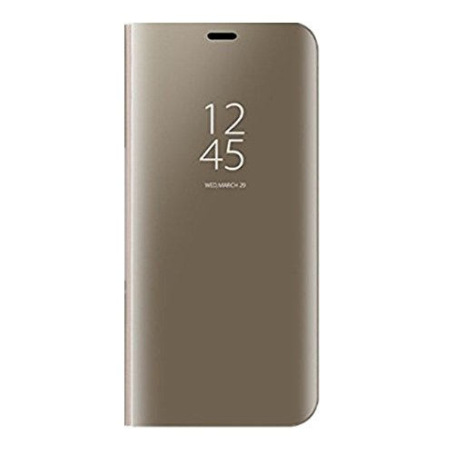 Samsung Galaxy S8 Spiegel Schutzhülle Flip Handy Case Tasche mit Standfunktion Business Serie Hart Case Cover für Samsung Galaxy S8/S8 Plus (Samsung Galaxy S8 Plus, Gold) Business-serie Handy