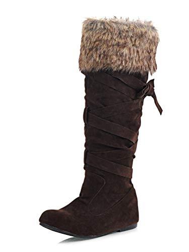 Minetom Damen Material Mix Long Rain Boot Hohe Stiefel Braun 42 EU