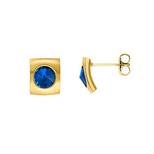 Heideman Ohrringe Damen Quadro aus Edelstahl gold farbend matt Ohrstecker für Frauen mit Swarovski Stein Kristall sapphire blau im Fantasie Edelsteinschliff 6mm