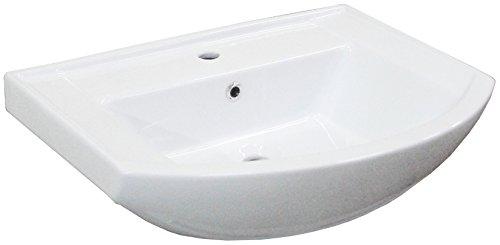 FACKELMANN Waschbecken A-VERO / Waschtisch aus Keramik / Maße (B x H x T): ca. 66 x 18,5 x 50 cm / hochwertiges Becken fürs Badezimmer / Farbe: Weiß / Breite: 66 cm