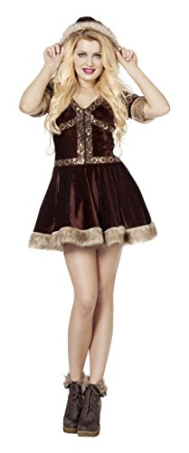 Damen Kostüm Eskimo Kleid in braun Inuit Karneval Fasching (Eskimo Halloween Kostüm)