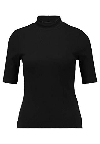 Even&Odd Damen T-Shirt mit Halbarm - Oberteil aus Rippstrick - Top mit Stehkragen in Schwarz, M