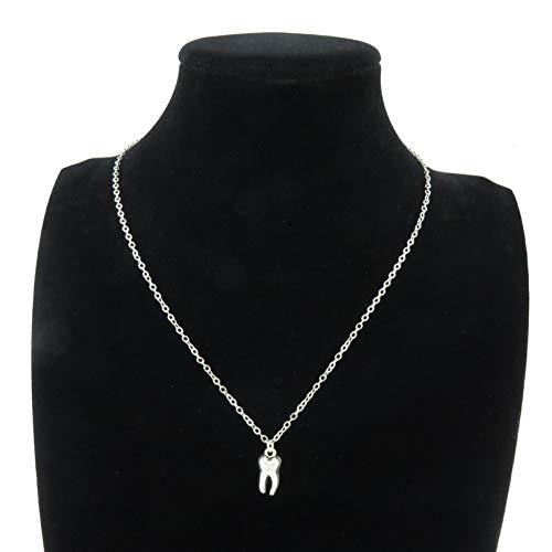 JMZDAW Halskette Anhänger Silber Legierung Schmuck 15 Mm Zahn Zähne Backenzahn Anhänger Kurze Kette Halsband Halskette 18