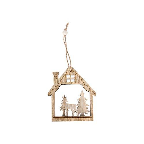 DEtrade Weihnachten Holz Baum Anhänger DIY Ornamente für Weihnachtsfeier Dekoration Aus Holz Hohl Weihnachtsmann Elk Runder Anhänger (B)