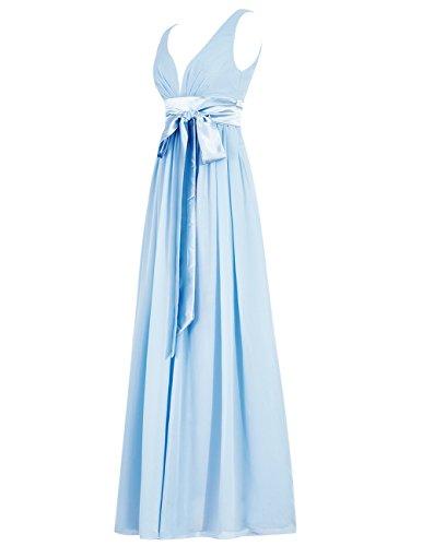 Dresstells Robe de cérémonie Robe de soirée col en V sans manches dos nu longueur ras du sol Menthe
