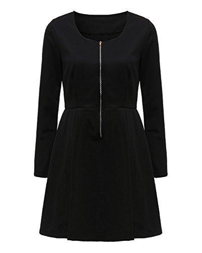ZANZEA Femmes Sexy Manches Longues Mini Robe Courte Tunique Dos Zipper Dress Clubwear Noir