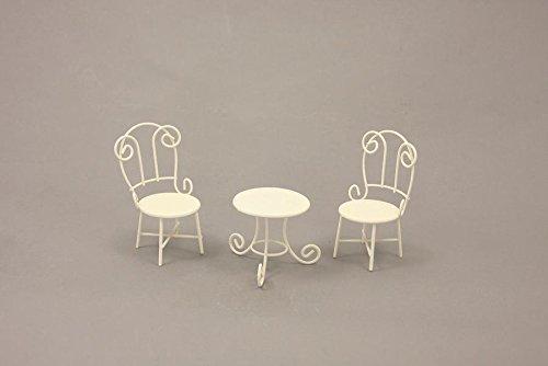 Minigarten, Sitzgruppe Gartentisch mit Stühle weiß Höhe ca. 10cm