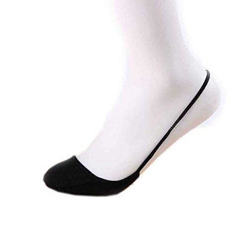 EUYOUZI 5 Pairs of Slingback Toe Cover Topper Invisible Socks High Heels Sandals Liner (Black) Cotton Blend Liner