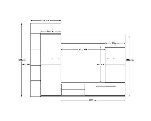 Wohnwand INTRO, Anbauwand, Wohnzimmer Möbel mit LED Beleuchtung - 2
