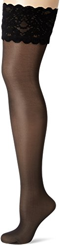 Wolford Damen Halterlose Strümpfe Satin Touch Stay-Up, 20 DEN, Schwarz (Admiral 5280), Medium