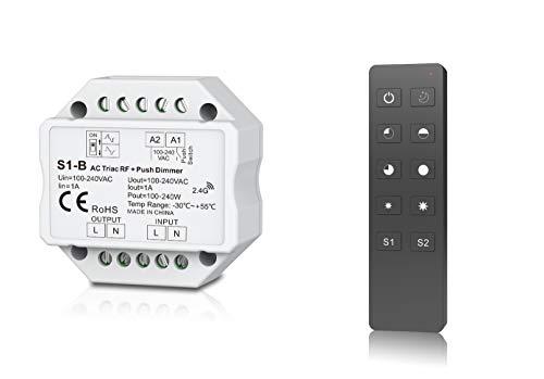 Funk-Dimmer 230V - TRIAC universell einstellbar für LED mit Phasenan- oder Phasenabschnitt - elektronischer Dimmeinsatz kompatibel mit Tastschalter (Funkdimmer + Fernbedienung)