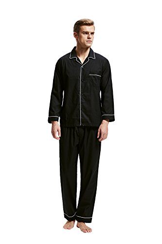 Herren Schlafanzug Baumwolle Langarm Pyjama mit Hosen Klassische Nachtwäsche Zweiteiliger von Tony & Candice Schwarz
