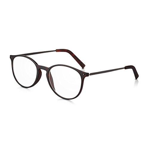 Read Optics +1,5 Dioptrien runde Brille für Herren/Damen: Modische Lesebrille mit leichtem, dunklem Schildpatt Rahmen aus Polykarbonat und schlanken Metall-Bügeln. Stabile Lesehilfe mit klaren Gläsern