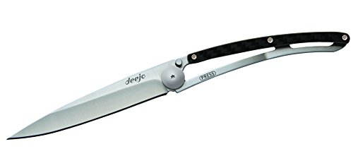 deejo Composite 37 g, , Hellgrau Beschichtet, Liner-Lock, Carbon, Clip Box Taschenmesser (Carbon Taschenmesser)