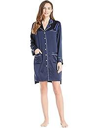 f0a6289b4c LILYSILK Women s Silk Nightgown Short Long Sleeve Nightshirt Nightdress  Ladies 100% 22 Momme Pure Silk