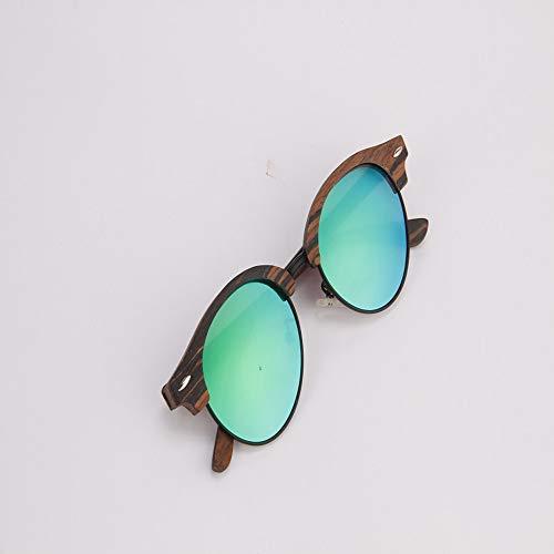 Zbertx Handgefertigte Sonnenbrille Aus Holz Classic Semi Rimless Shades Herren Damen Polarisierte Sonnenbrille Hochwertige Uv400 Runde Brille,Green
