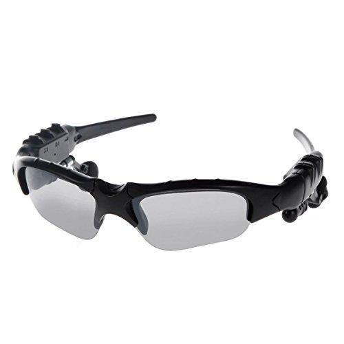 KINGCOO® Bluetooth-Sonnenbrille Musik freihändiger Kopfhörer-Kopfhörer mit Kamera-Funktion für iPhone 6s 6 Plus Samsung Galaxy + Free Austauschbare 3 Paar Linse (schwarz)