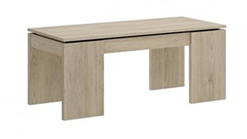 PEGANE Table Basse à Plateau relevable Coloris Naturel - Dim : 51 x 102 x 43 cm