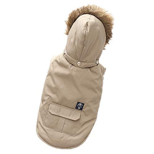 PZSSXDZW Haustierhundekostüm Daunenjacke mit Kapuze Herbst und Winter Heimtierbedarf Hundekleidung Zweibeinige Kleidung,Beige,S