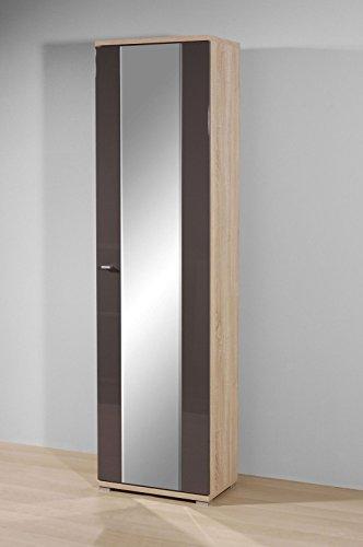 Garderobenschrank Kleiderschrank Sonoma-Eiche - Graphit Hochglanz
