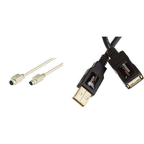 Goobay 50222 PS/2 Tastatur-/Maus-Verlängerungskabel, Mini-DIN 6-Stecker (PS/2) > Mini-DIN 6-Buchse (PS/2) & AmazonBasics 1IGG USB 2.0-Verlängerungskabel A-Stecker auf A-Buchse, 2 m,Schwarz -