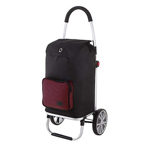 Rada Einkaufstrolley ER/7, robuster Marktroller für den täglichen Einkauf, Handwagen mit 2 Rollen und Griff, Einkaufstrolley mit wasserabweisender Tasche (Volumen 45 Liter) (Bordeaux 2 Tone)