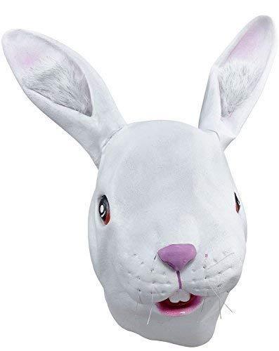 Erwachsene Damen Herren Rubber Das Gesicht Bedeckend Maske Animal Halloween Kostüm Kleid Outfit Zubehör - Weißen Kaninchen