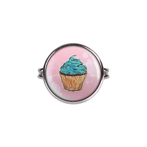 v Cup-Cake Kuchen Türkis Rosa Comic Style Silber 16mm ()