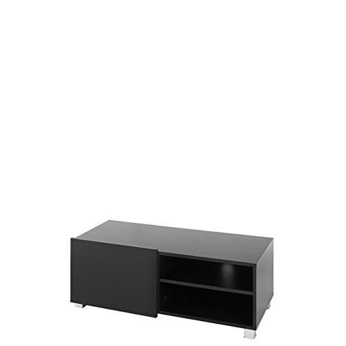 TV Board Lowboard Gordia G 1D, Fernsehschrank Fernsehtisch, 100x38x43 cm, TV-Tisch, TV Schrank, TV Bank, TV Möbel (Schwarz / Schwarz Matt + Schwarz Hochglanz)