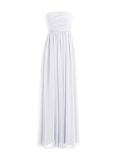 Dressystar Fourreau, Robe de demoiselle d'honneur/de soirée longue, au drapé Sans Bretelles en Mousseline Blanc