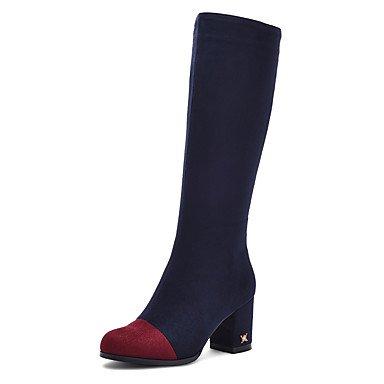 LFNLYX Damen-Stiefel-Kleid / Lässig / Party & Festivität-Vlies-Blockabsatz-Rundeschuh / Modische Stiefel-Schwarz / Blau Blue