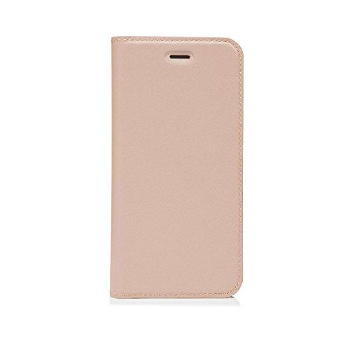 iPhone 7Plus Case Pipetto Magnetverschluss Wallet Case für iPhone 6/6S/7Plus [Medium]–PREMIUM Echt Leder mit 2Kartenfächern und Ständer Funktion–Wallet Cover mit abnehmbaren Magnet Shell–Mari rosa - dusty pink