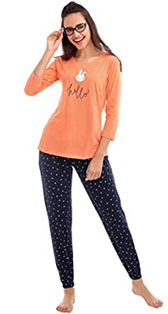 ZEYO Women's Cotton Navy Blue & Orange Polka Dot Print Night Suit