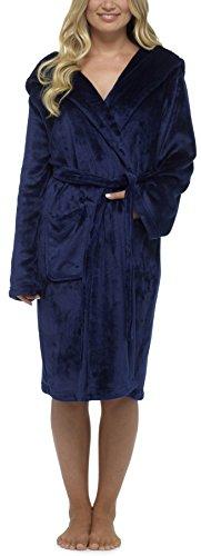 Foxbury Mesdames Uni Polaire de Luxe Peignoir à Capuche Peignoir Bleu