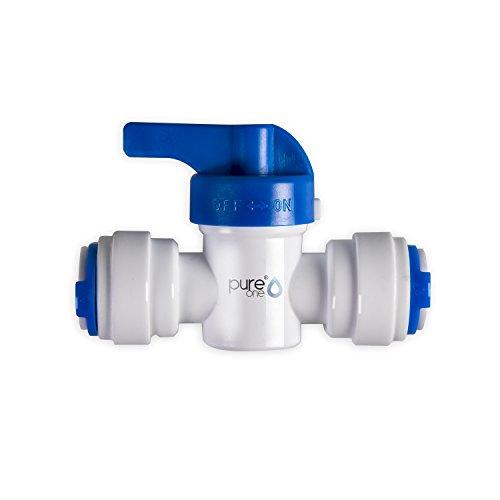 Wasser-umkehr-osmose-system (PureOne QF-30B Quick-Fitting - Schnellverbinder 3/8 auf 3/8 Zoll. Ausführung: Gerade   I-Form. Schlauch-Zubehör für Umkehr-Osmose, Wasser-Installationen oder Kühlschranksysteme. Mit Hand-Ventil)