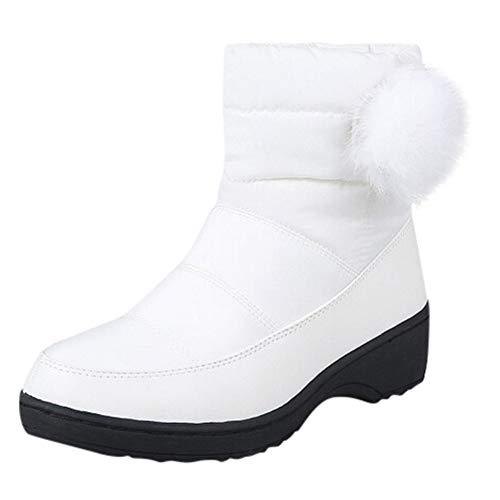 Mymyguoe Botas de Nieve para Mujer Zapatos de Mujer de Invierno Botas Casuales de Felpa Calientes Botines de Nieve Zapatos al Aire Libre Antideslizantes