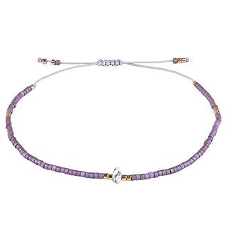 KELITCH Armband Frauen Männer Japanischen Rocailles Delicate Stein Freundschaftsarmbänder Handmade Einstellbare String Armreif Bettelarmband Armbänder (Lila)