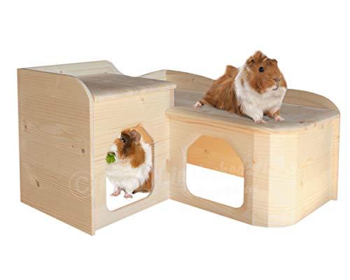Resch Nr26 Meerschweinchen Landhaus naturbelassenes Massivholz aus Fichte/im abgerundeten Softline-Design, mit Zwei großen EIN-/ Ausgängen